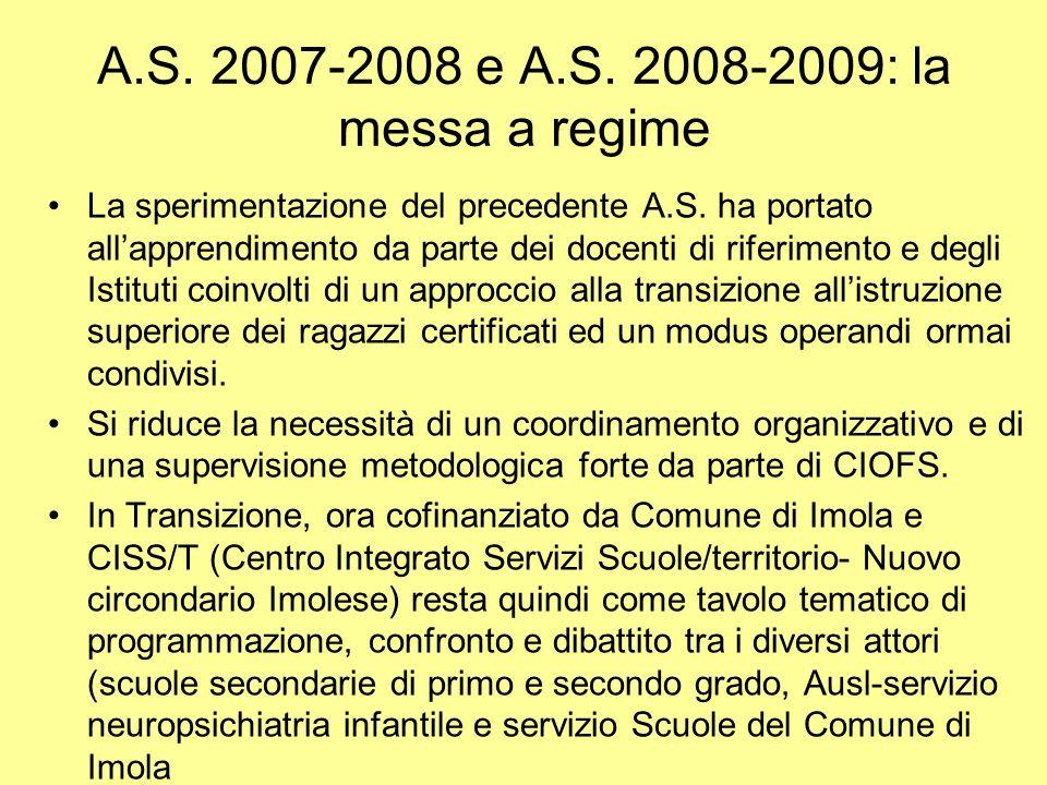 A.S. 2007-2008 e A.S. 2008-2009: la messa a regime