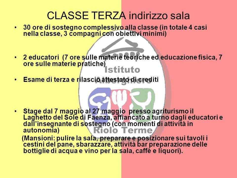 CLASSE TERZA indirizzo sala