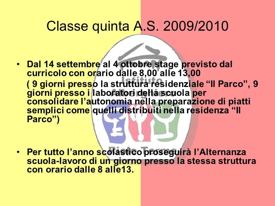 Classe quinta A.S. 2009/2010Dal 14 settembre al 4 ottobre stage previsto dal curricolo con orario dalle 8,00 alle 13,00.