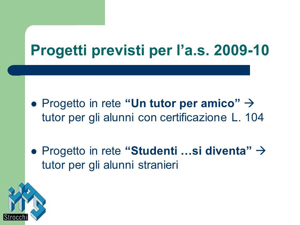 Progetti previsti per l'a.s. 2009-10