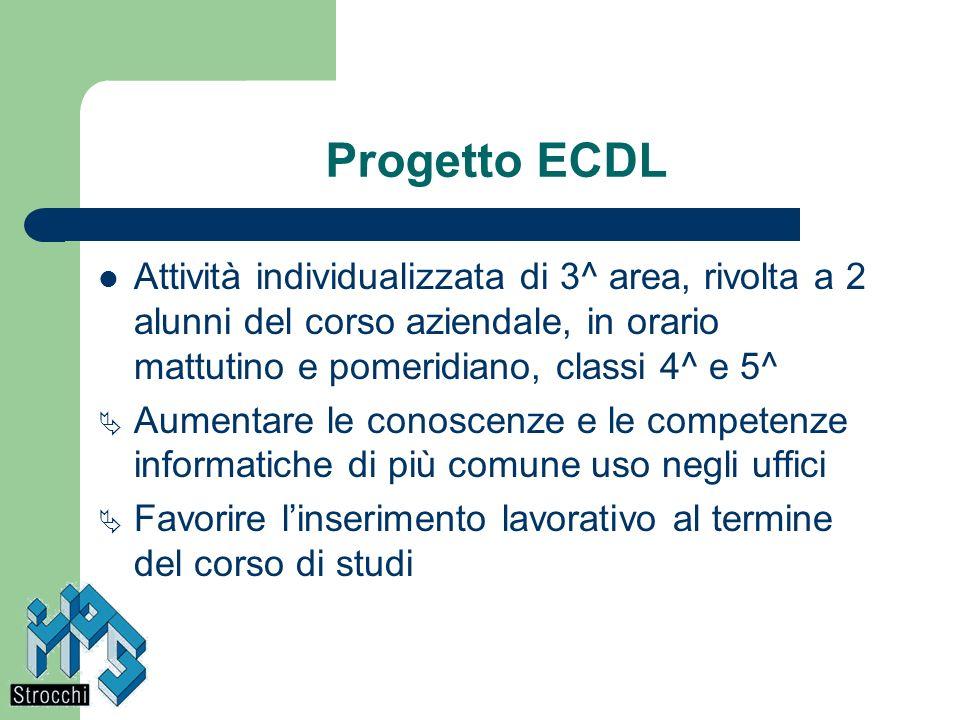 Progetto ECDLAttività individualizzata di 3^ area, rivolta a 2 alunni del corso aziendale, in orario mattutino e pomeridiano, classi 4^ e 5^