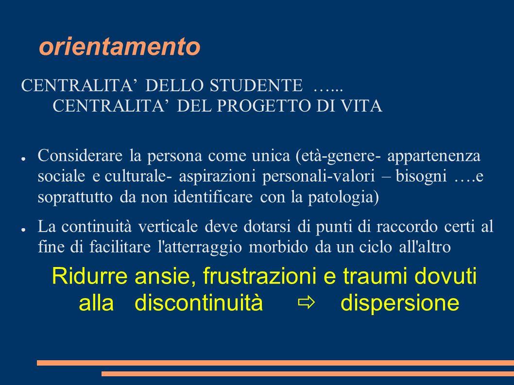 orientamento CENTRALITA' DELLO STUDENTE …... CENTRALITA' DEL PROGETTO DI VITA.