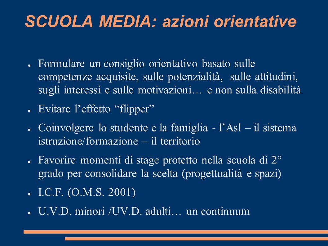 SCUOLA MEDIA: azioni orientative