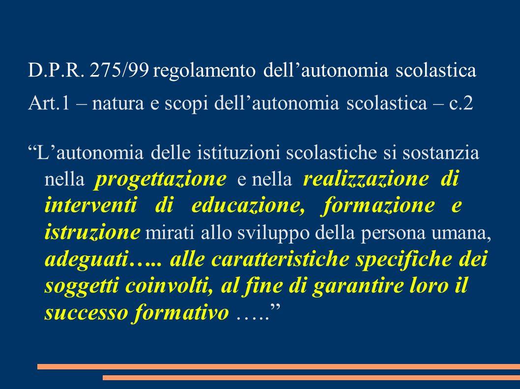 D.P.R. 275/99 regolamento dell'autonomia scolastica