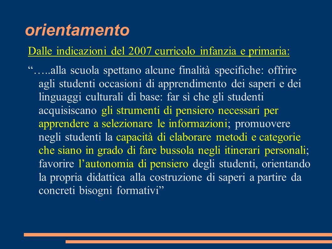orientamento Dalle indicazioni del 2007 curricolo infanzia e primaria: