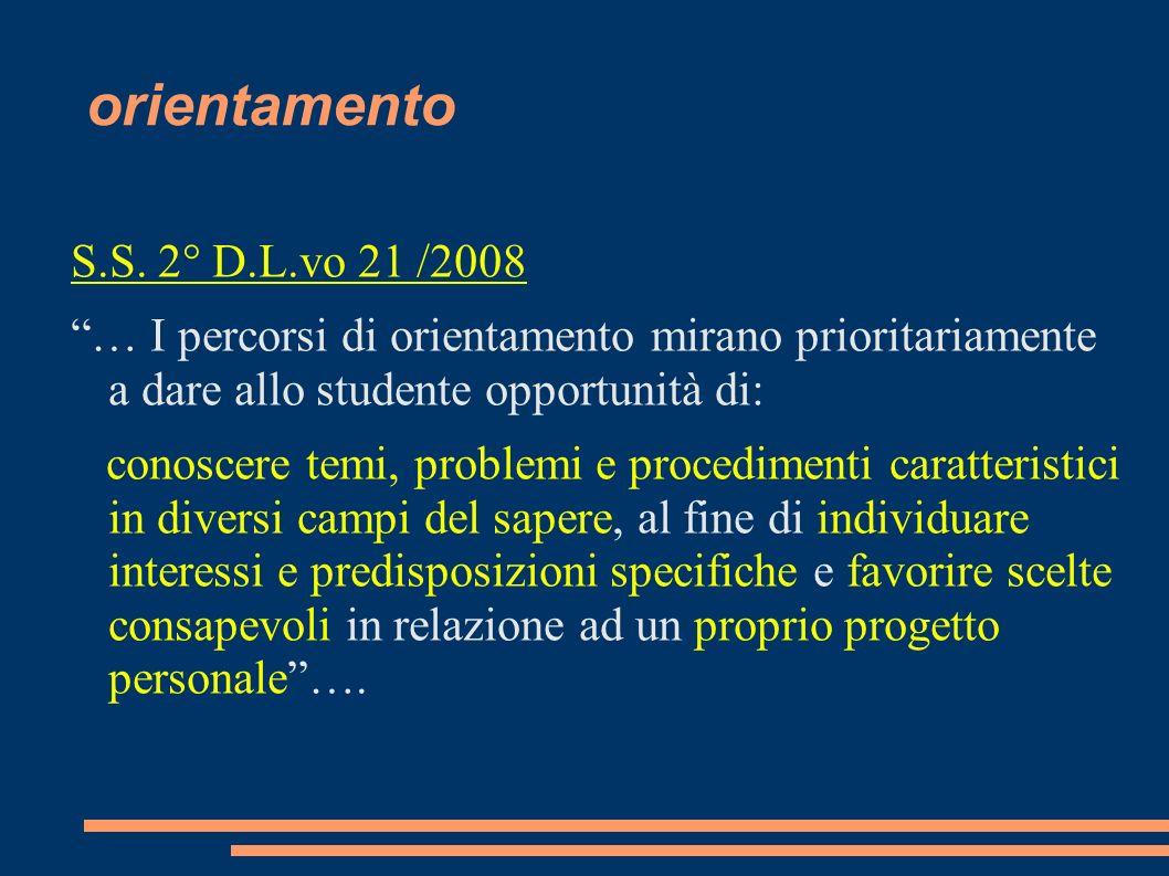 orientamento S.S. 2° D.L.vo 21 /2008