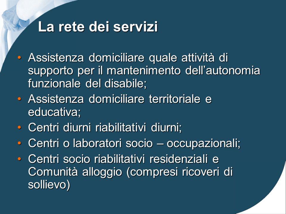 La rete dei servizi Assistenza domiciliare quale attività di supporto per il mantenimento dell'autonomia funzionale del disabile;