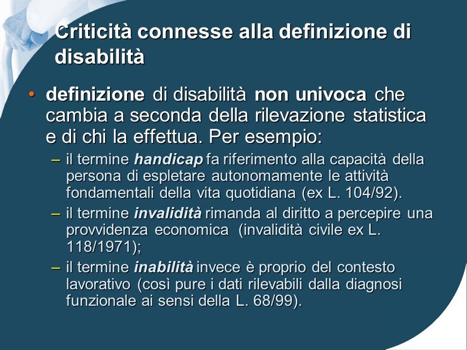 Criticità connesse alla definizione di disabilità