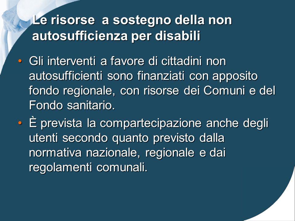 Le risorse a sostegno della non autosufficienza per disabili