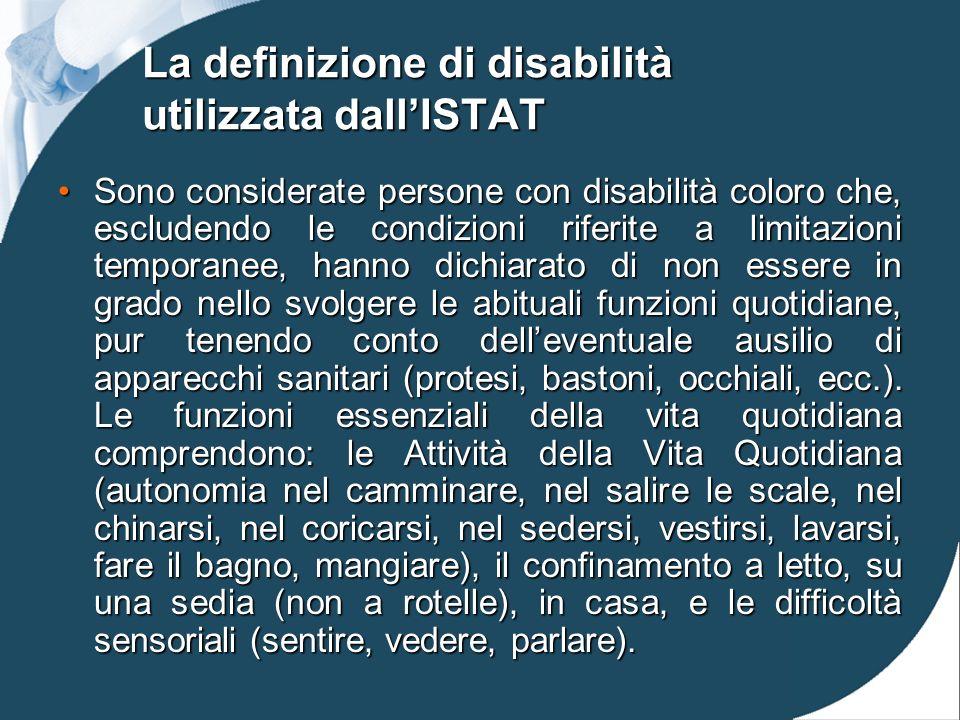 La definizione di disabilità utilizzata dall'ISTAT