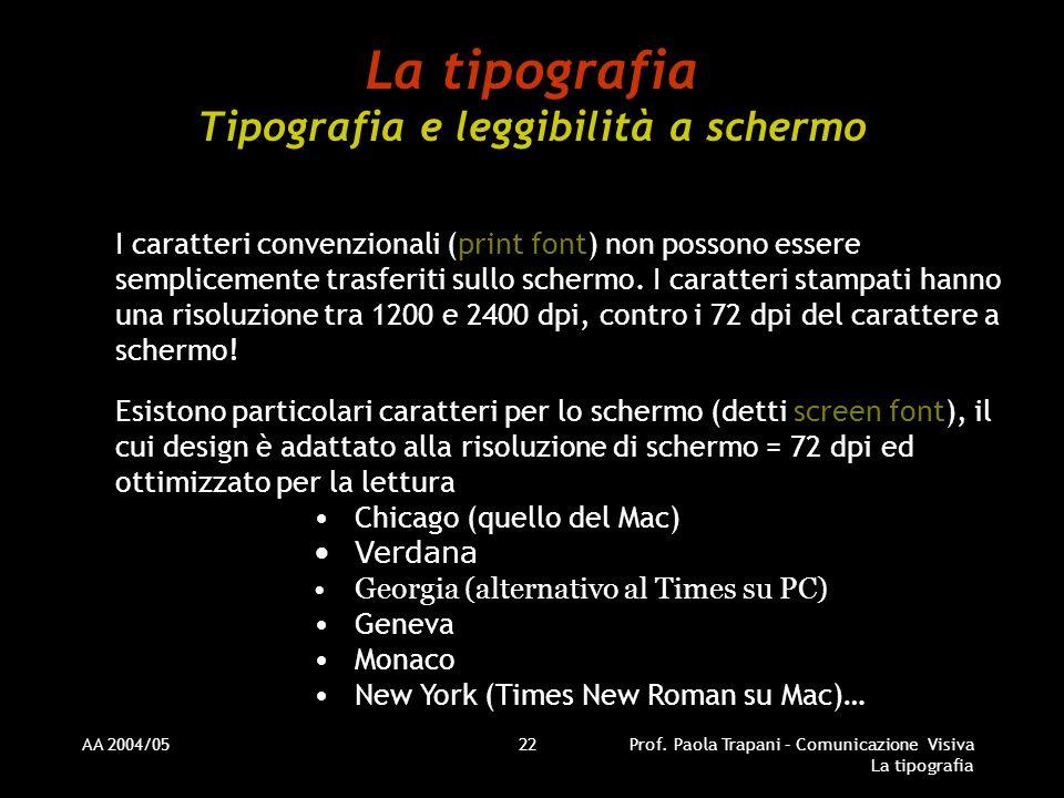 La tipografia Tipografia e leggibilità a schermo