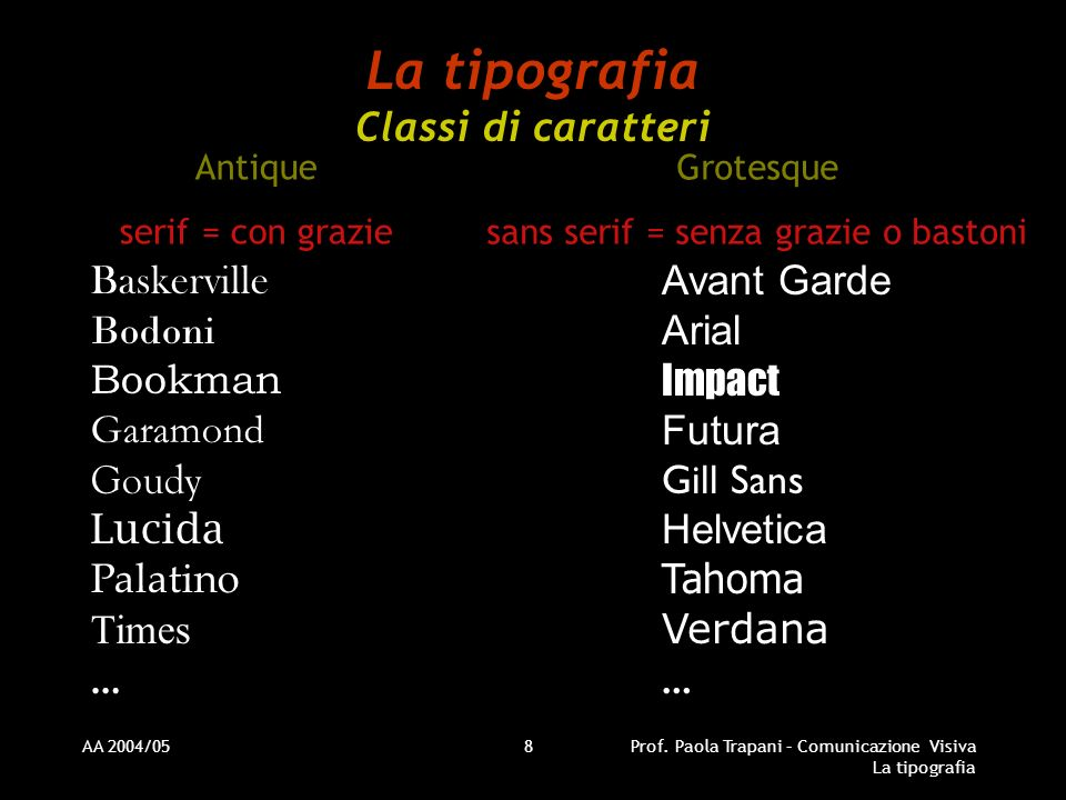 La tipografia Classi di caratteri