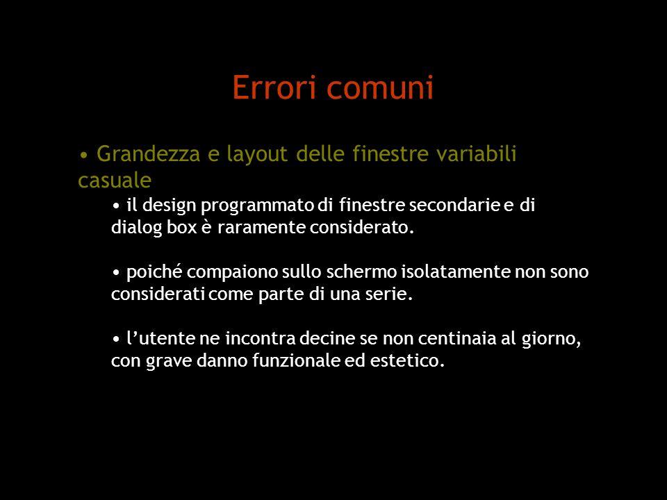 Errori comuni Grandezza e layout delle finestre variabili casuale