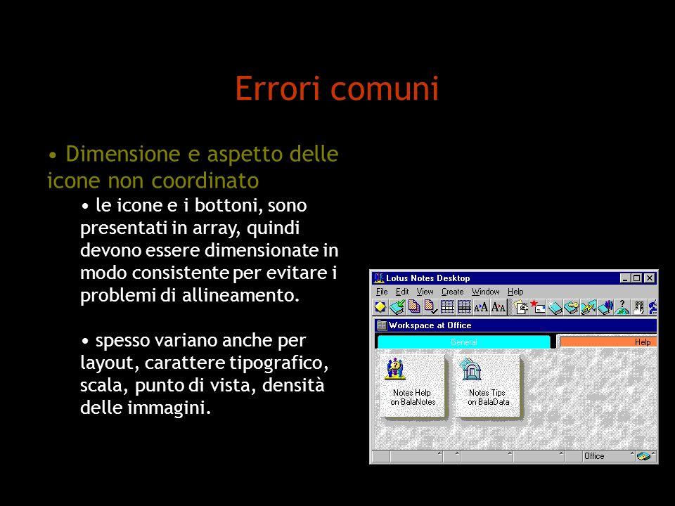 Errori comuni Dimensione e aspetto delle icone non coordinato