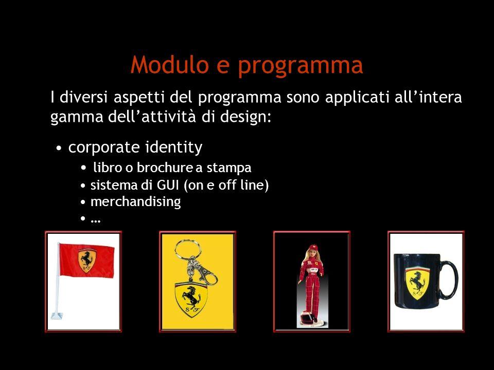 Modulo e programma I diversi aspetti del programma sono applicati all'intera. gamma dell'attività di design: