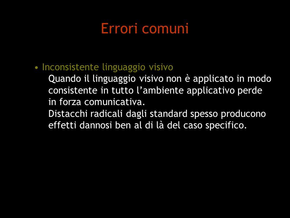 Errori comuni Inconsistente linguaggio visivo
