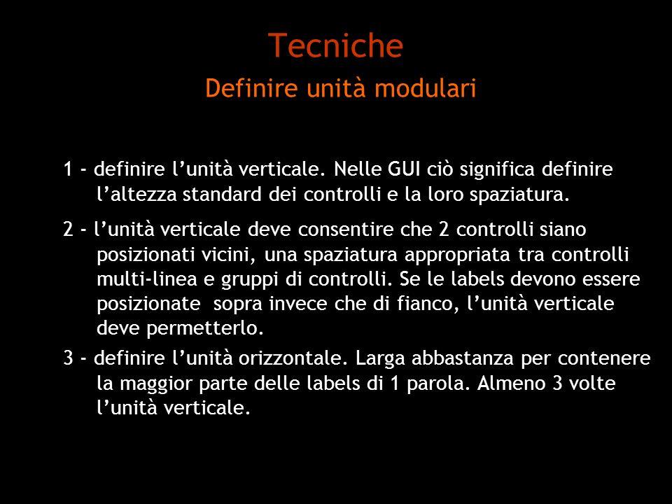 Tecniche Definire unità modulari