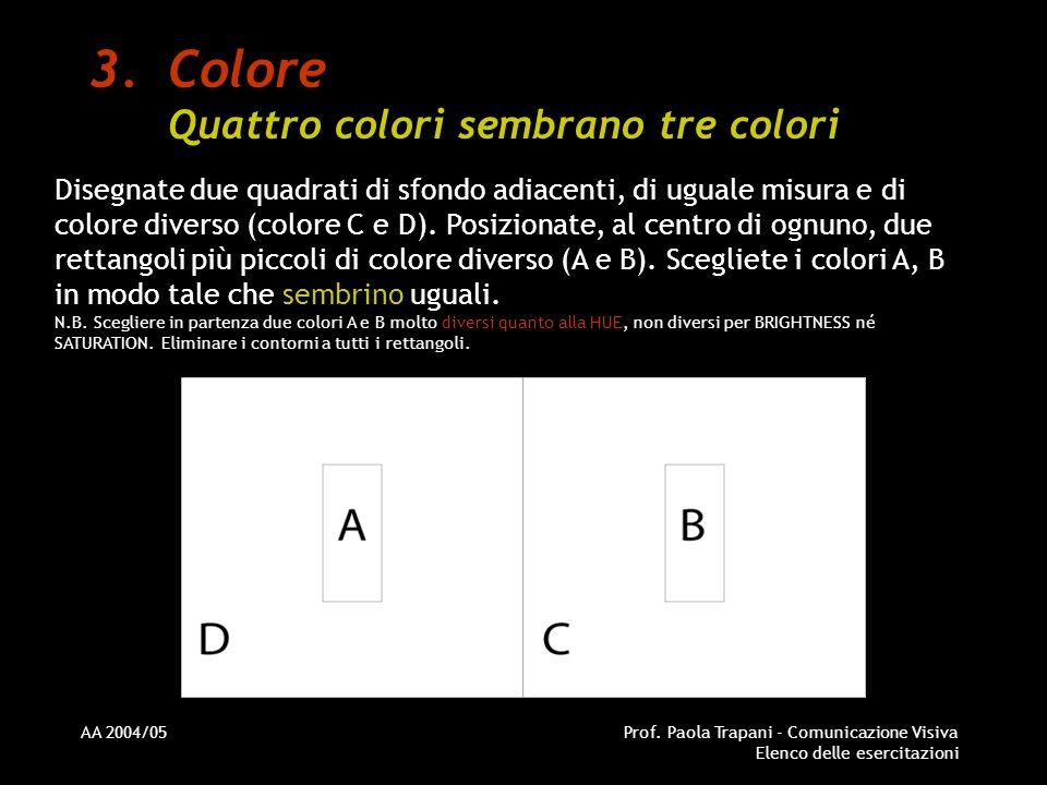 Colore Quattro colori sembrano tre colori