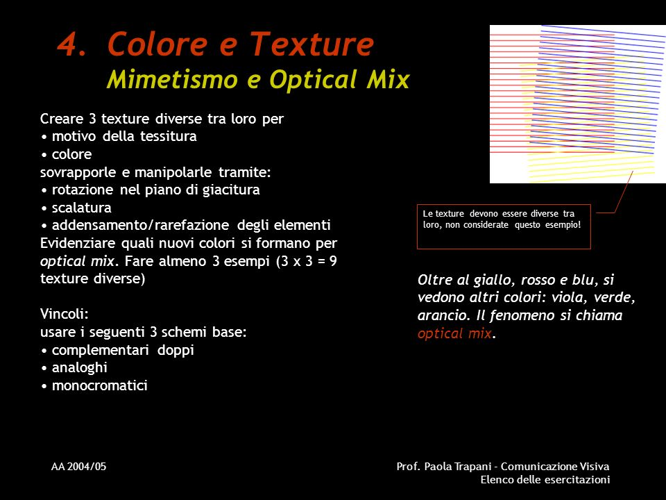Colore e Texture Mimetismo e Optical Mix
