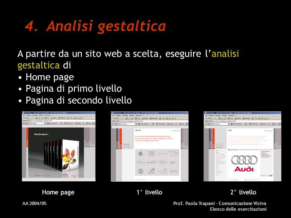 Analisi gestaltica A partire da un sito web a scelta, eseguire l'analisi gestaltica di. Home page.