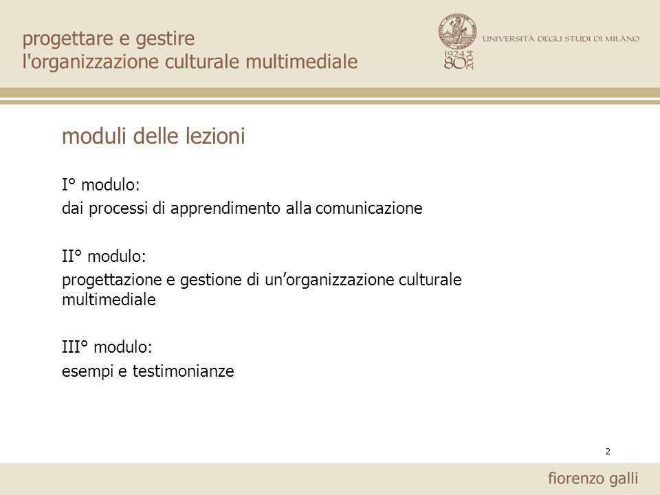 moduli delle lezioni I° modulo: