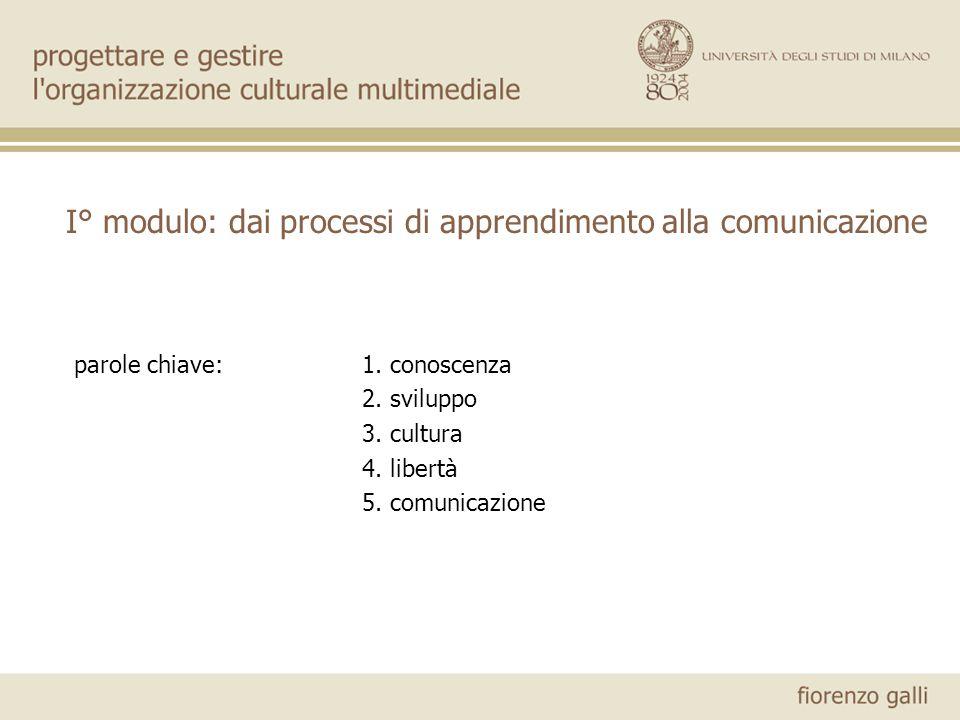 I° modulo: dai processi di apprendimento alla comunicazione
