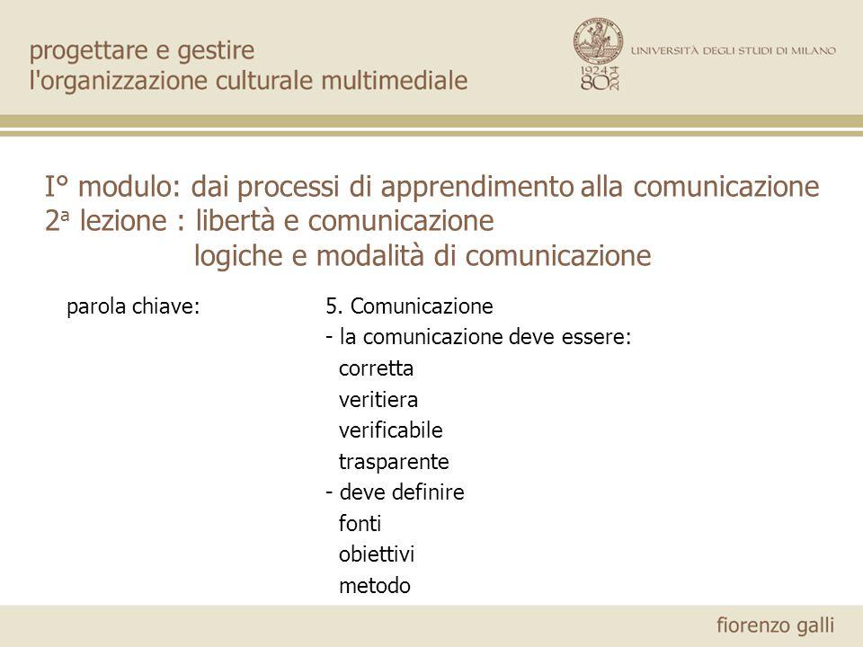 I° modulo: dai processi di apprendimento alla comunicazione 2a lezione : libertà e comunicazione logiche e modalità di comunicazione