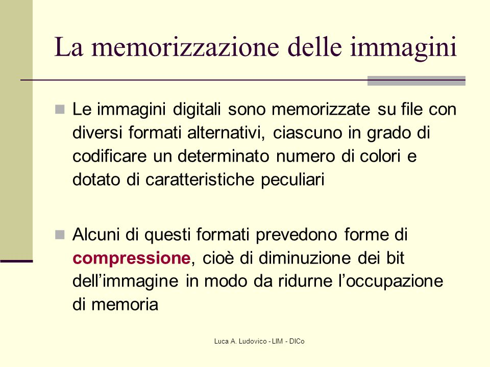 La memorizzazione delle immagini