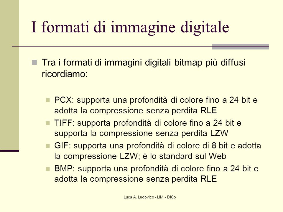 I formati di immagine digitale