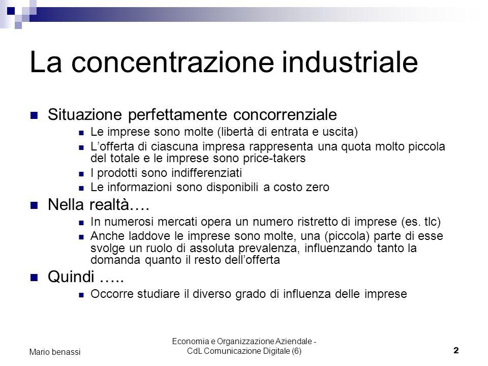 La concentrazione industriale