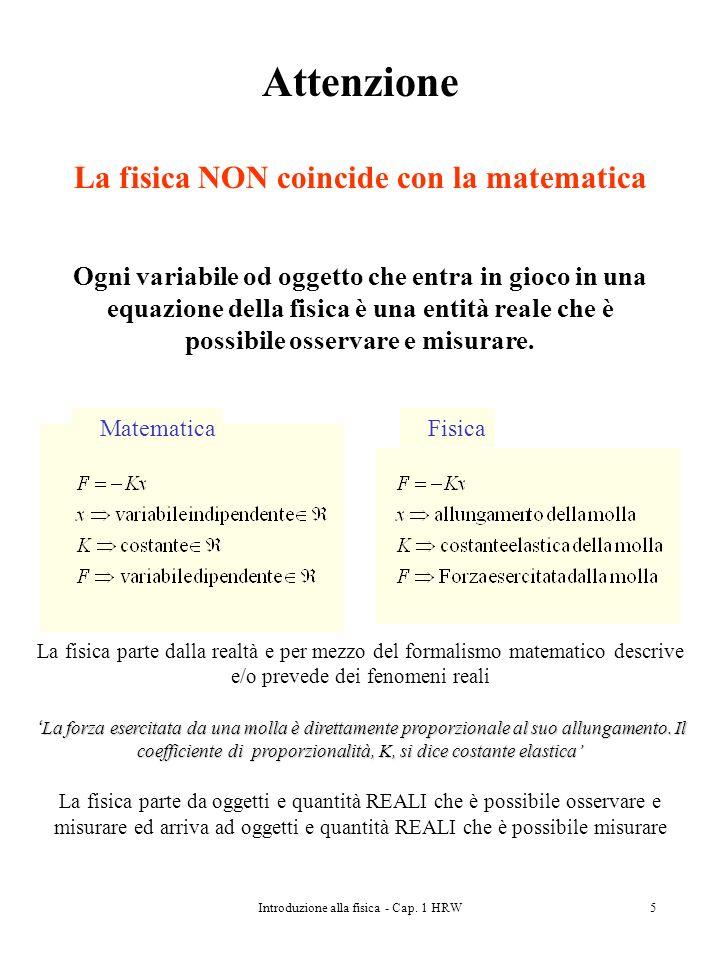 Attenzione La fisica NON coincide con la matematica