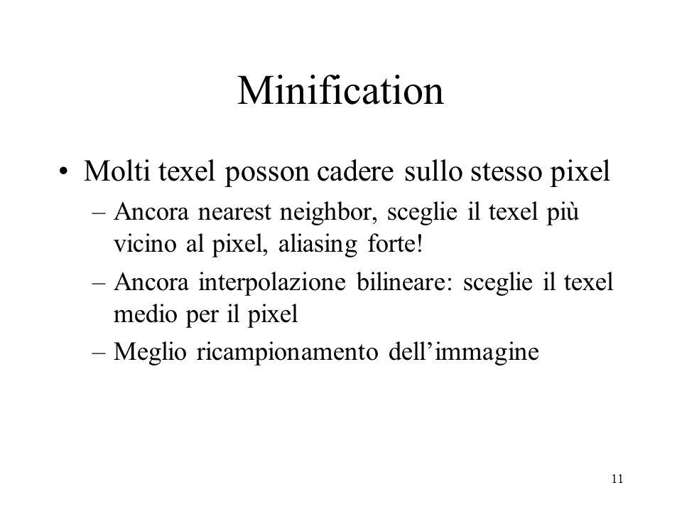 Minification Molti texel posson cadere sullo stesso pixel