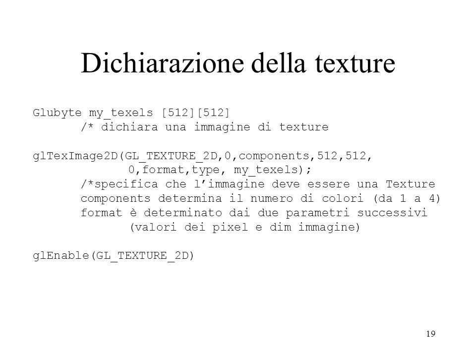 Dichiarazione della texture