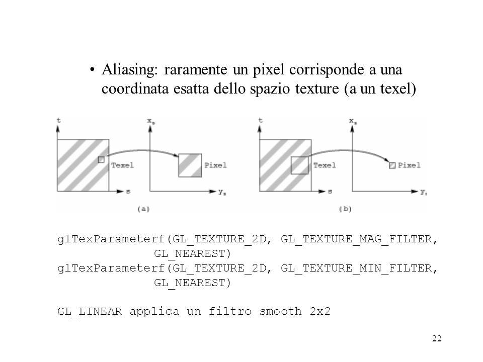 Aliasing: raramente un pixel corrisponde a una coordinata esatta dello spazio texture (a un texel)