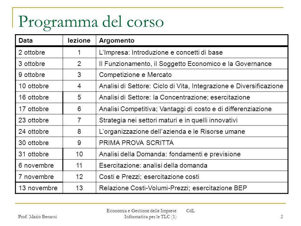 Economia e Gestione delle Imprese CdL Informatica per le TLC (1)