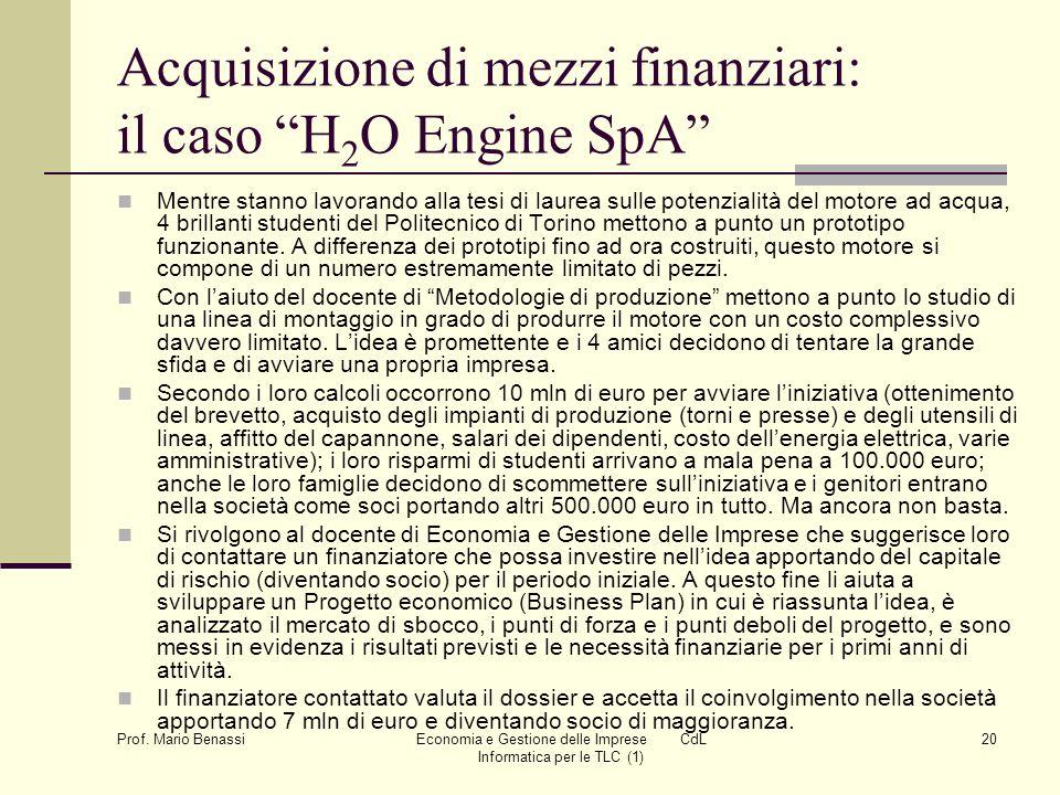 Acquisizione di mezzi finanziari: il caso H2O Engine SpA