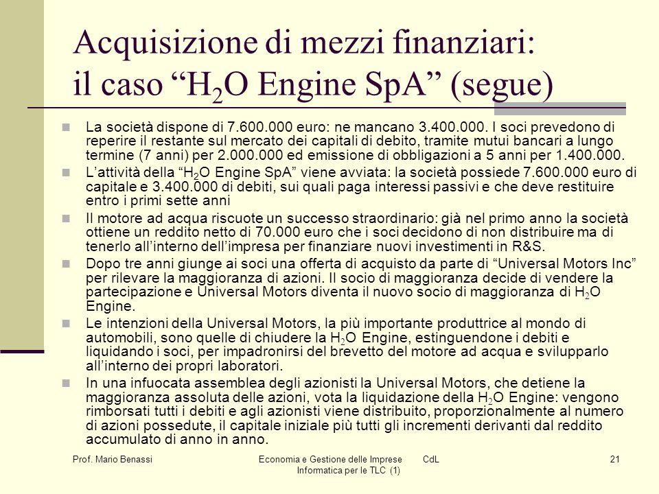 Acquisizione di mezzi finanziari: il caso H2O Engine SpA (segue)