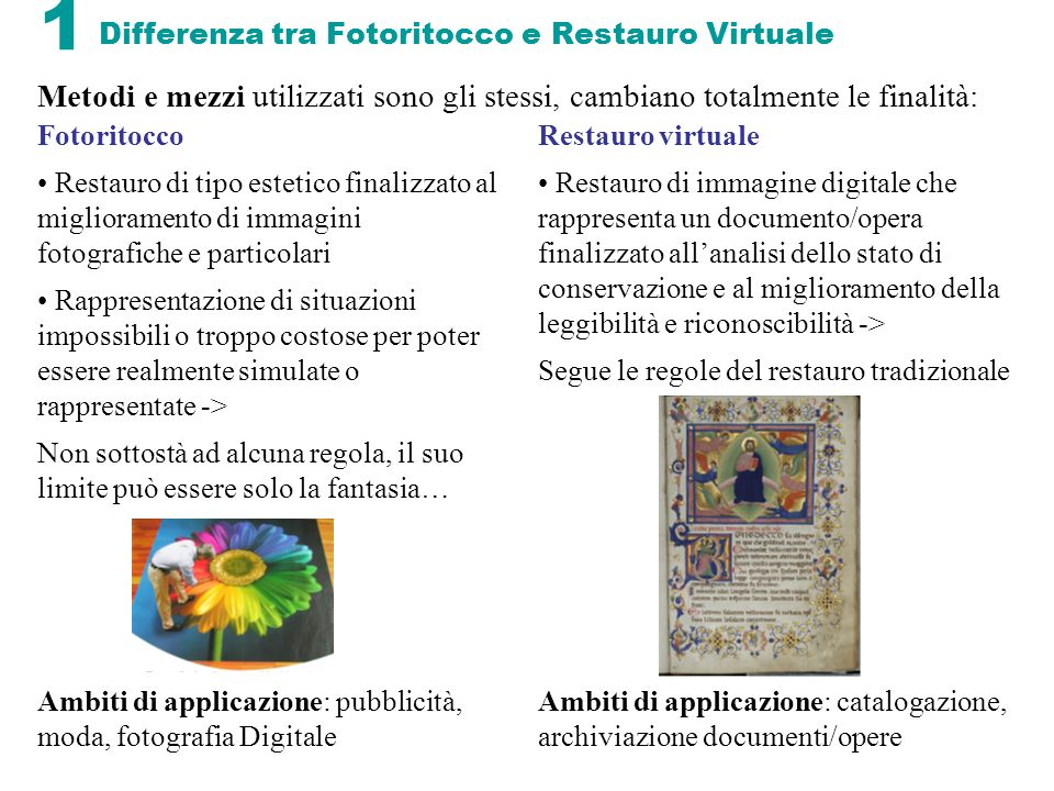 Differenza tra Fotoritocco e Restauro Virtuale