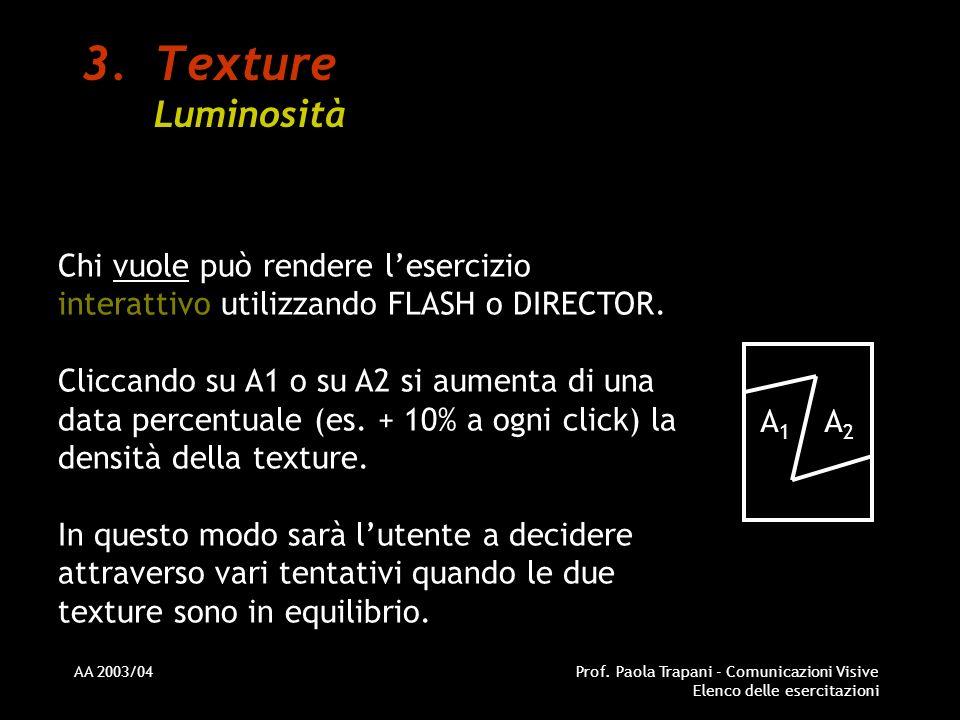 Texture Luminosità Chi vuole può rendere l'esercizio interattivo utilizzando FLASH o DIRECTOR.