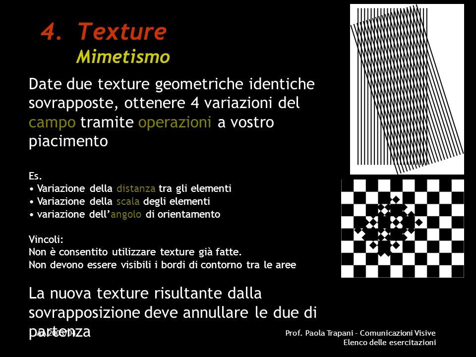 Texture Mimetismo Date due texture geometriche identiche sovrapposte, ottenere 4 variazioni del campo tramite operazioni a vostro piacimento.
