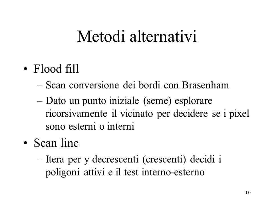 Metodi alternativi Flood fill Scan line