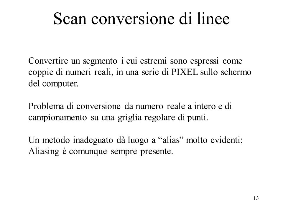 Scan conversione di linee