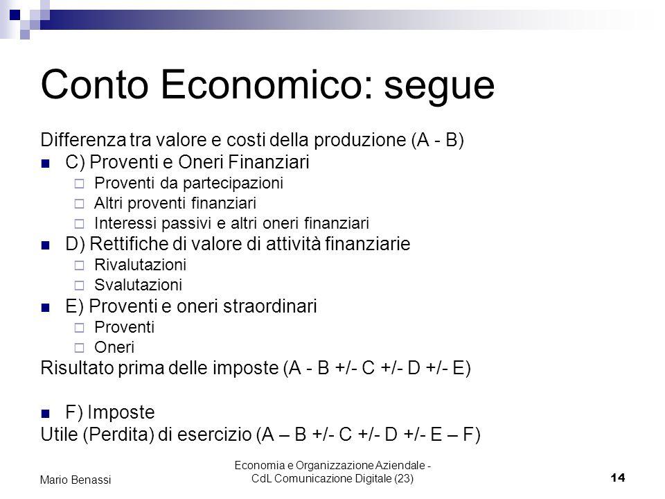 Conto Economico: segue