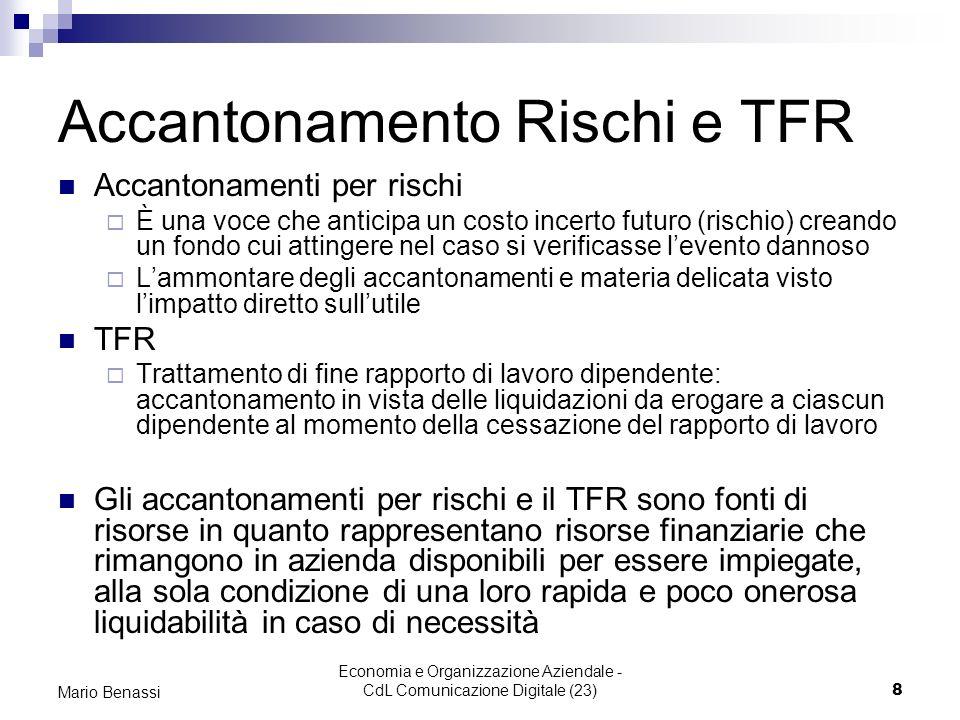 Accantonamento Rischi e TFR