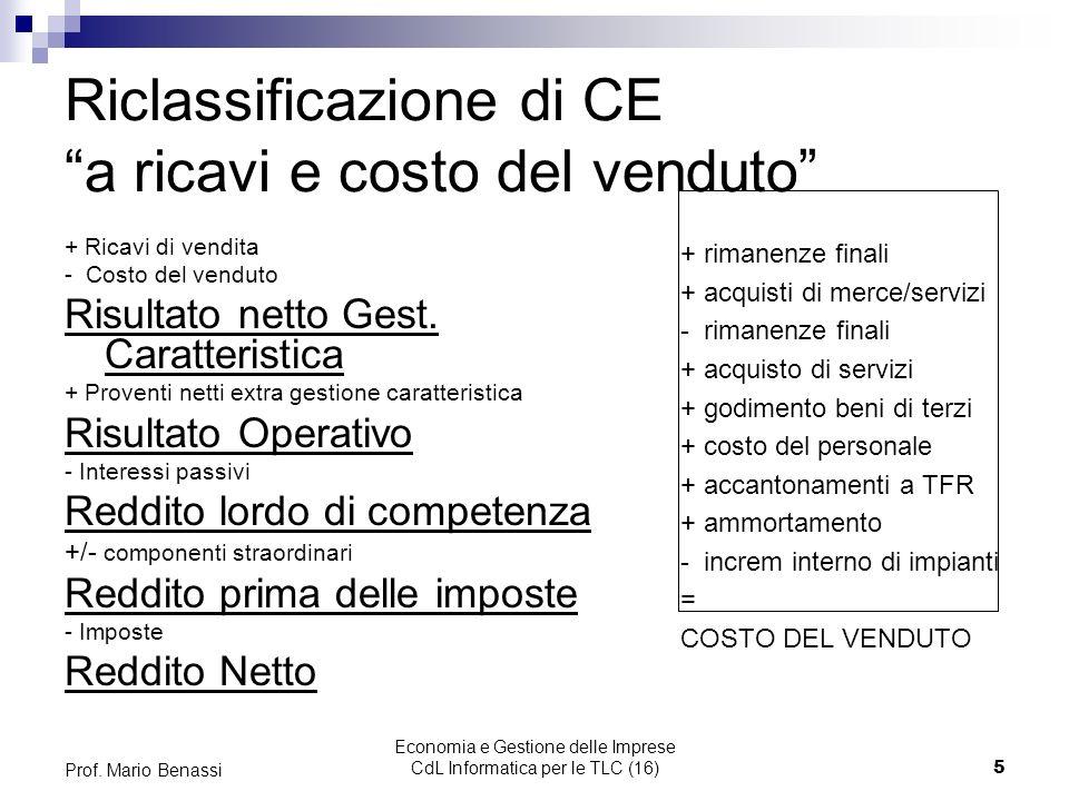 Riclassificazione di CE a ricavi e costo del venduto