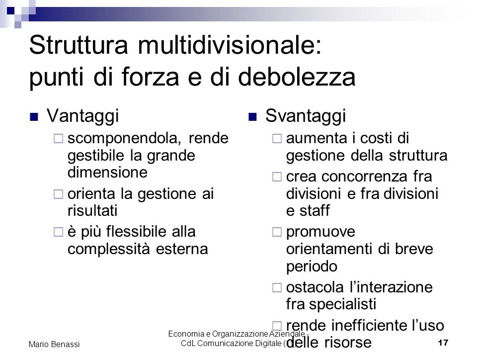 Struttura multidivisionale: punti di forza e di debolezza