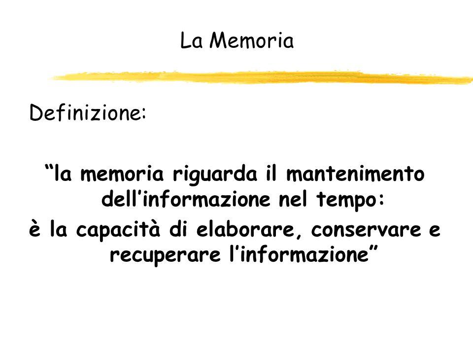la memoria riguarda il mantenimento dell'informazione nel tempo: