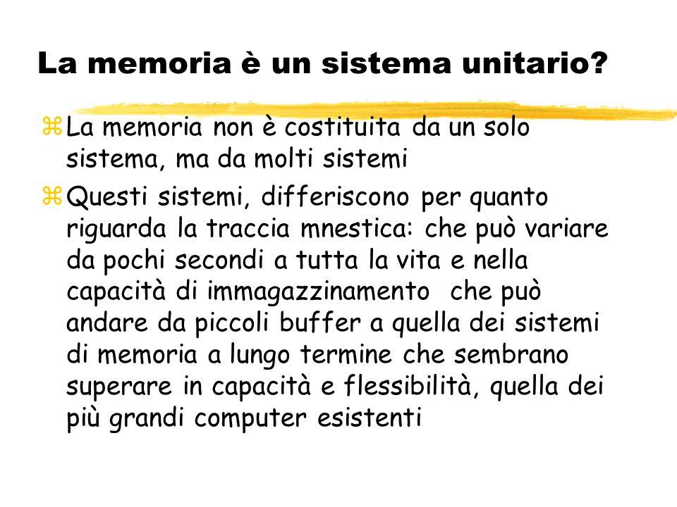 La memoria è un sistema unitario