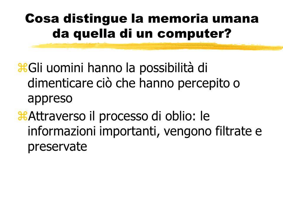 Cosa distingue la memoria umana da quella di un computer
