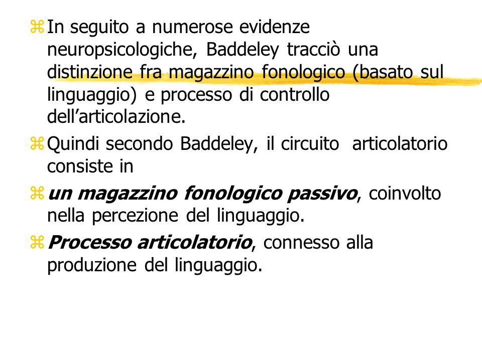 In seguito a numerose evidenze neuropsicologiche, Baddeley tracciò una distinzione fra magazzino fonologico (basato sul linguaggio) e processo di controllo dell'articolazione.
